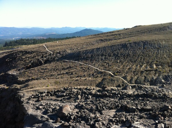 The home stretch on the Loowit, Mt. St. Helens Volcanic 50K