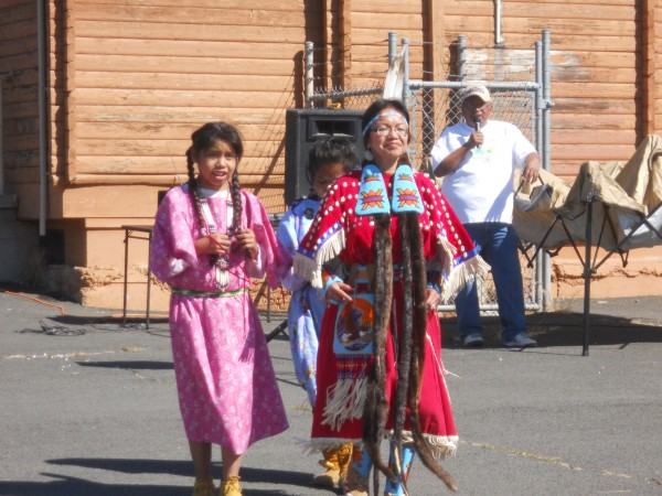The Grand Ronde tribal children dance at the rest stop on the Warm Spr...