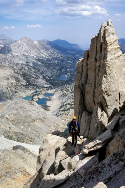 At the Key Hole with Little Lakes Basin beyond. Thunderstorms were bre...