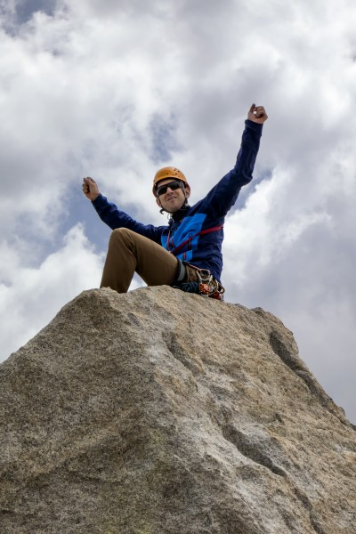 Carl celebrating success on another Sierra alpine rock climb