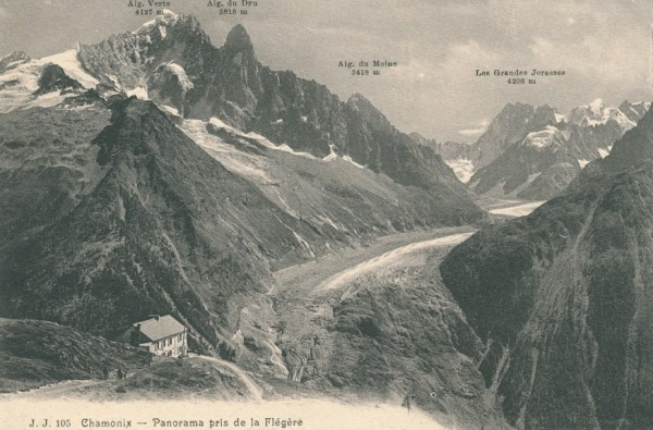 Panorama pris de la Flegere 1 - from left to right: Aig. Verte, Aig. d...