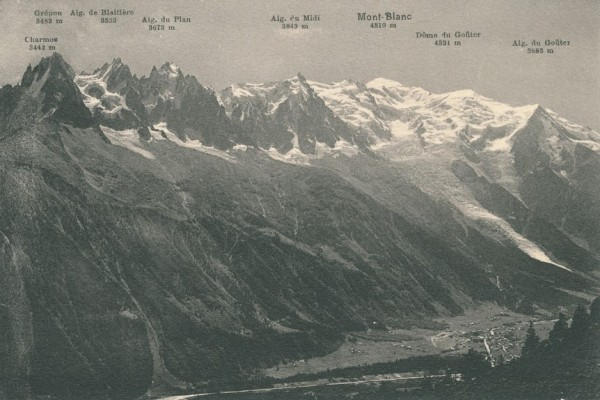 Panorama pris de la Flegere 2 - from left to right: Charmos, Grepon, A...