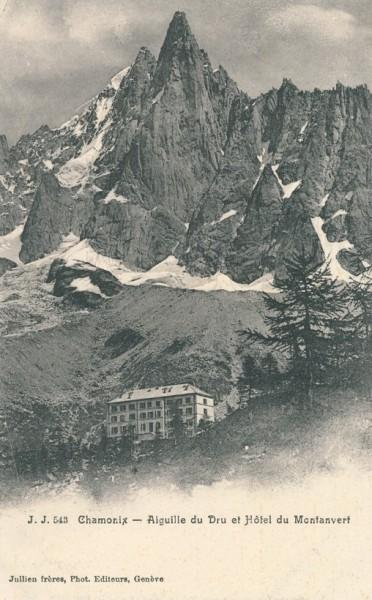 Aiguille du Dru et Hotel du Montanvert