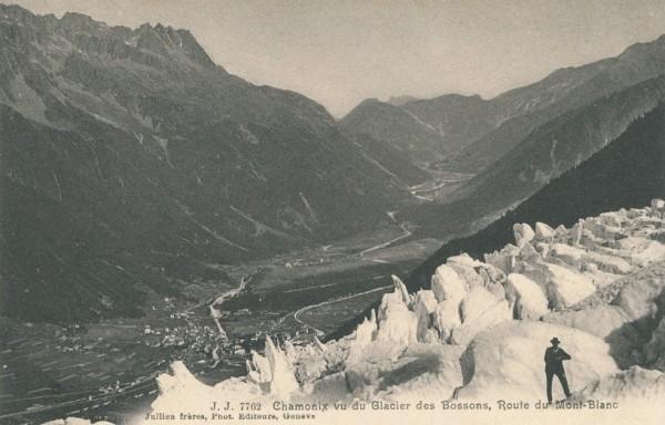 Chamonix vu du Glacier des Bossons - Route du Mont-Blanc