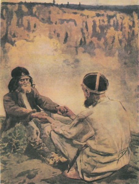 Two old men singing the runes.
