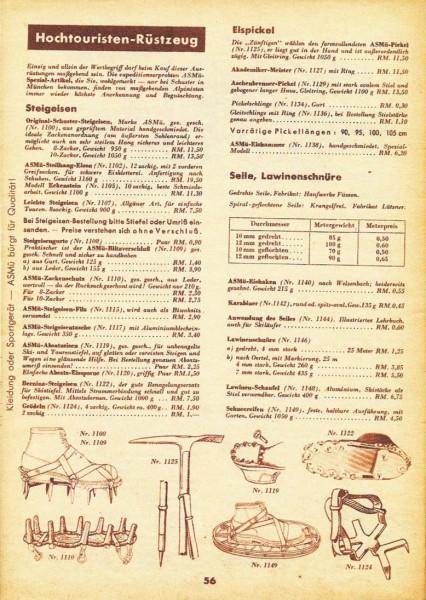 Sporthaus Schuster, 1937-38 catalogue