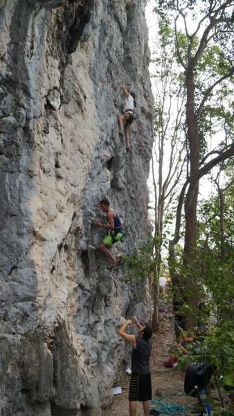 Climbing at Santi Spirtus