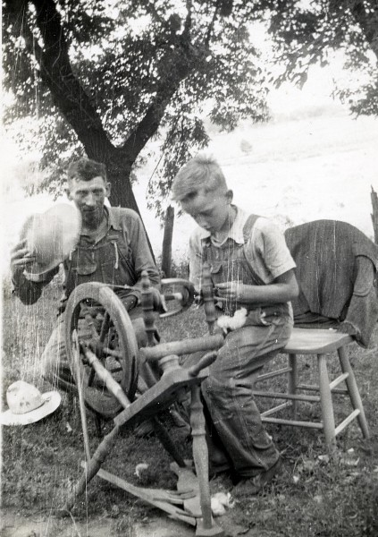 """Billy"" with George Mueller on the farm in Monee, IL ca. 1942"