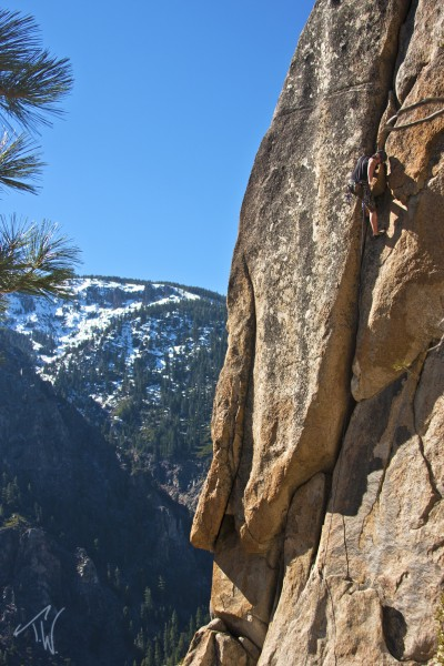 Laine finishing the crux.