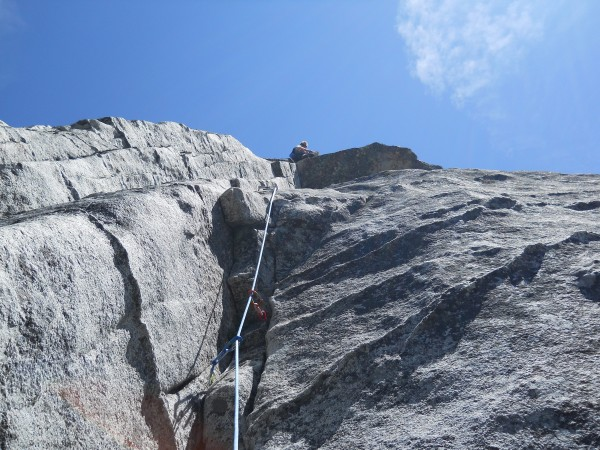 2nd roof/bulge on last pitch of Haystack (5.8)