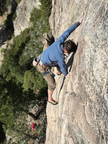 Troy Corliss high up on .10d, Rediscovery Dome, Bowman Valley, Ca.