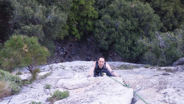 Near the top of the 2nd pitch of Jamcrack, all smiles!