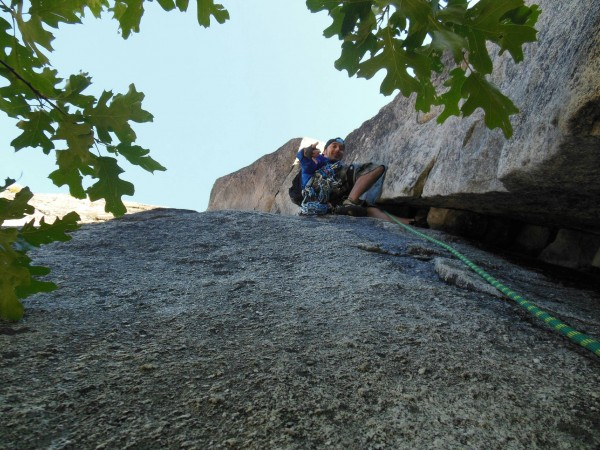 On the 1st pitch of Nutcracker after climbing 15 ft of wide 5.7 liebac...