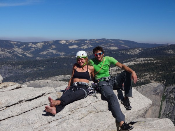 Happy couple on the top of the Visor.
