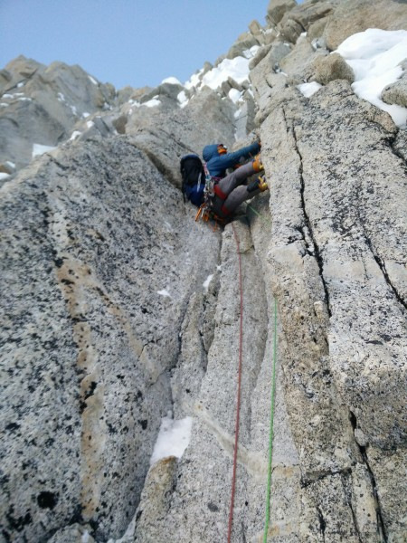 leading another block in the unending steepness of the upper headwall