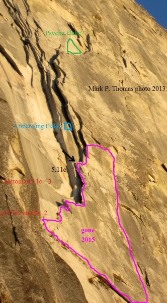 Rockfalls from Half Dome Regular NW Face (chimney section) 