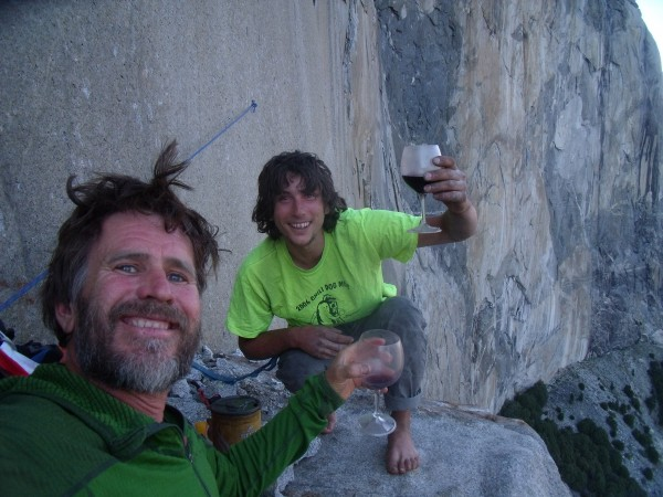 Pete and Cristobal on El Cap Tower while climbing The Real Nose with H...