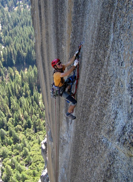 German climber on the featureless section of the route