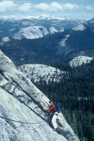 Janet Tornow on the east face of Starr King with the top of Mt. Watkin...
