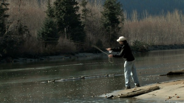 Perry casting the Homathko north of Scar creek
