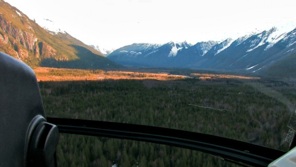 Looking south down the Homathko river valley towards Bute Inlet