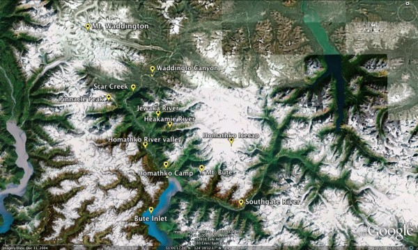 Mt. Waddington to Bute Inlet - the Homathko drainage.