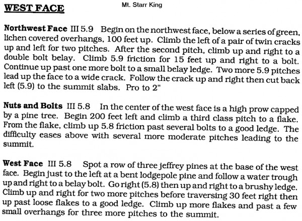 text description of some of the Mt. Starr King routes, from Southern Y...