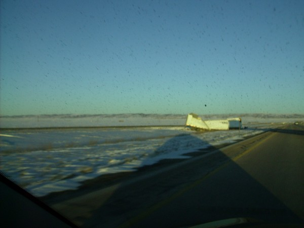 Big rig by Laramie - disintegrated by wind storm... <br/>