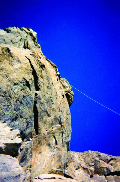 Chris Summit on the 1st TR ascent of Judge Dredd (5.13)
