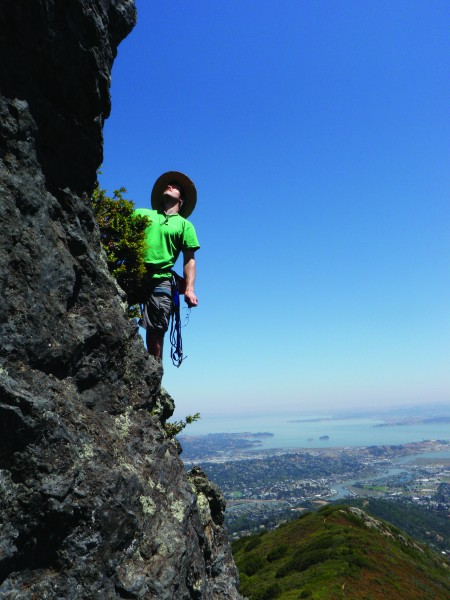 Chris McNamara rope soloing high on Mt. Tamalpais