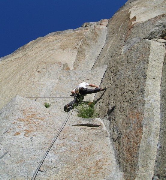 Beautiful corners.  Peter Croft after the crux on the Boulder Problem ...