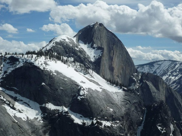 Looking across at Half Dome. Snake Dike climbers take NOTE: lots of sn...