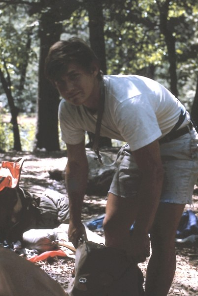 Dennis preparing for El Cap, 1969
