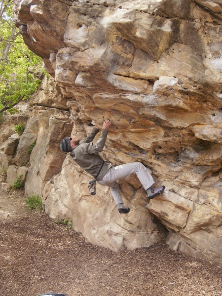 Vegan boulder in Rapid City at the Meat Packing Plant Boulders