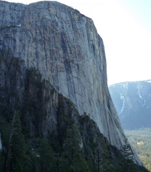 Looking over at the West Face of El Capitan. Note the big wet streaks....