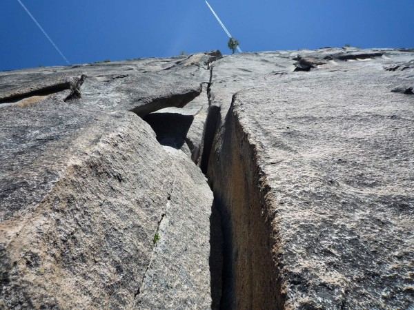 Looking up at pitch 6. Classic 5.10 flared hands with some short wide ...