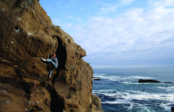 "Laurie Teevan on ""For Play"" (5.10) at the Playground, Salt Point, CA."