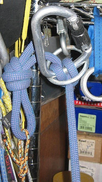 Clove hitch, not clipped to main rope (works fine).  Oversize ...