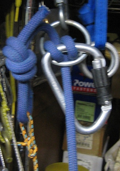 Clove hitch on locking biner, but clipped to main rope.  Changes angle...