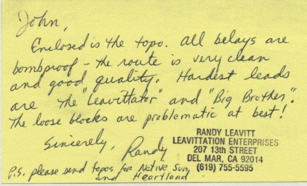 note on back of original FA topo of Scorched Earth, El Capitan