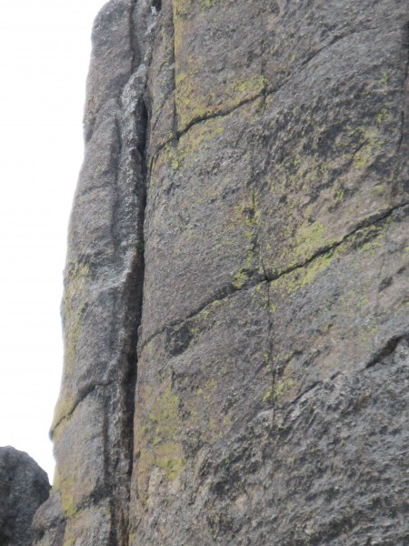 Close up of the crux crack from the ground.