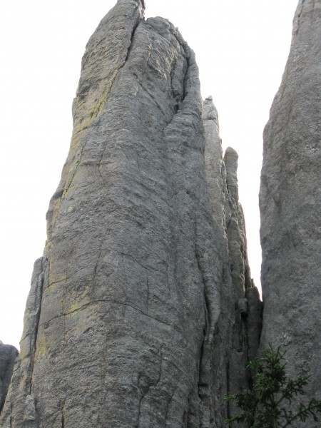 The upper half of the route we did.  The crux crack is on the lower le...
