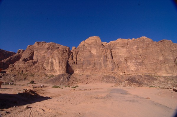 Looking at the East Face of Jebel Rum from the resthouse
