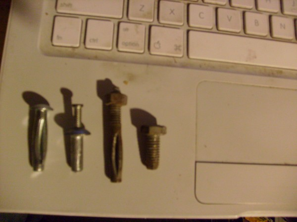 L to R <br/> 1&quot; button head, 3/4&quot; Z-Mac rivet, 2&quot; split-shaft thread head,...