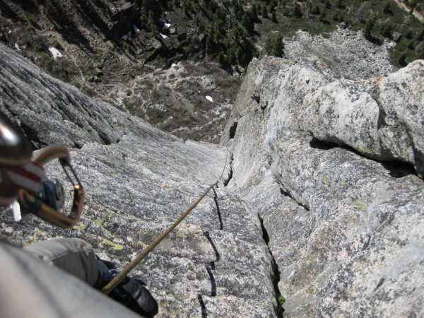 Corrugation Corner (5.7) -- almost at the top of the last pitch