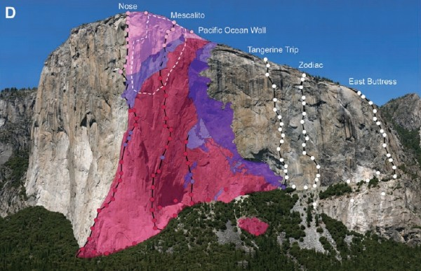 El Capitan Rock Avalanche / rock types on El Cap 