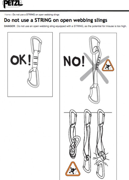 DANGER : Do not use an open webbing sling equipped with a STRING, as t...