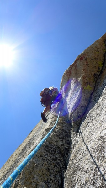 Linda at the crux of the short but fierce fourth pitch