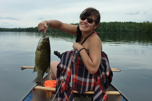 "Anita and her 18"" 3 lb 12 oz smallmouth bass, Skootamatta Lake, Ontari..."