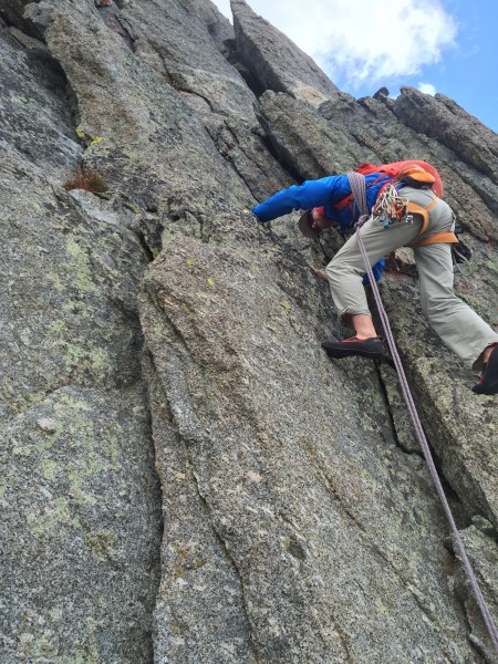 Last pitch of technical climbing, Block Tower.